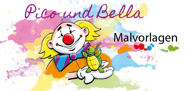"""Malvorlagen """"Clown Pico und die Schildkröte  Bella"""""""